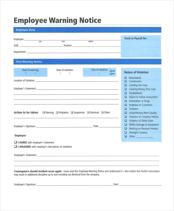 Employee Warning Notice 11+ Free Word, PDF Documents Download