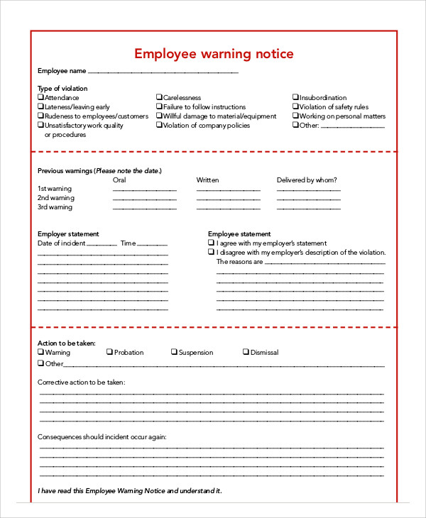 Employee Warning Notice Templates 7 Free Samples, Examples