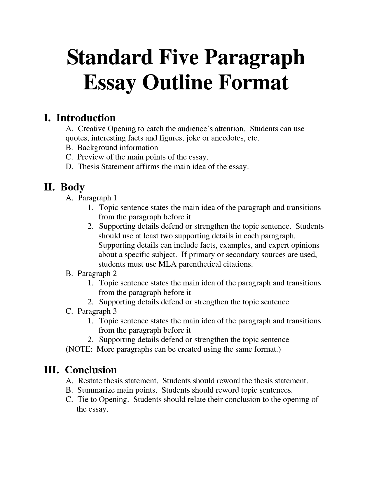 What Is An Essay Outline Examples 1 Standard Format Bing Images