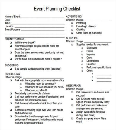 event planning checklist free Kleo.beachfix.co