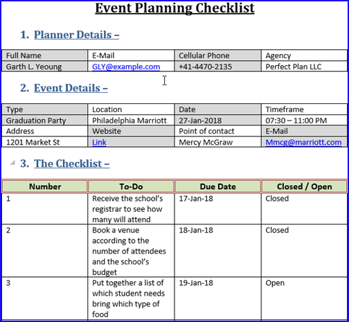 Event Planning Checklist Template – Techno Docs