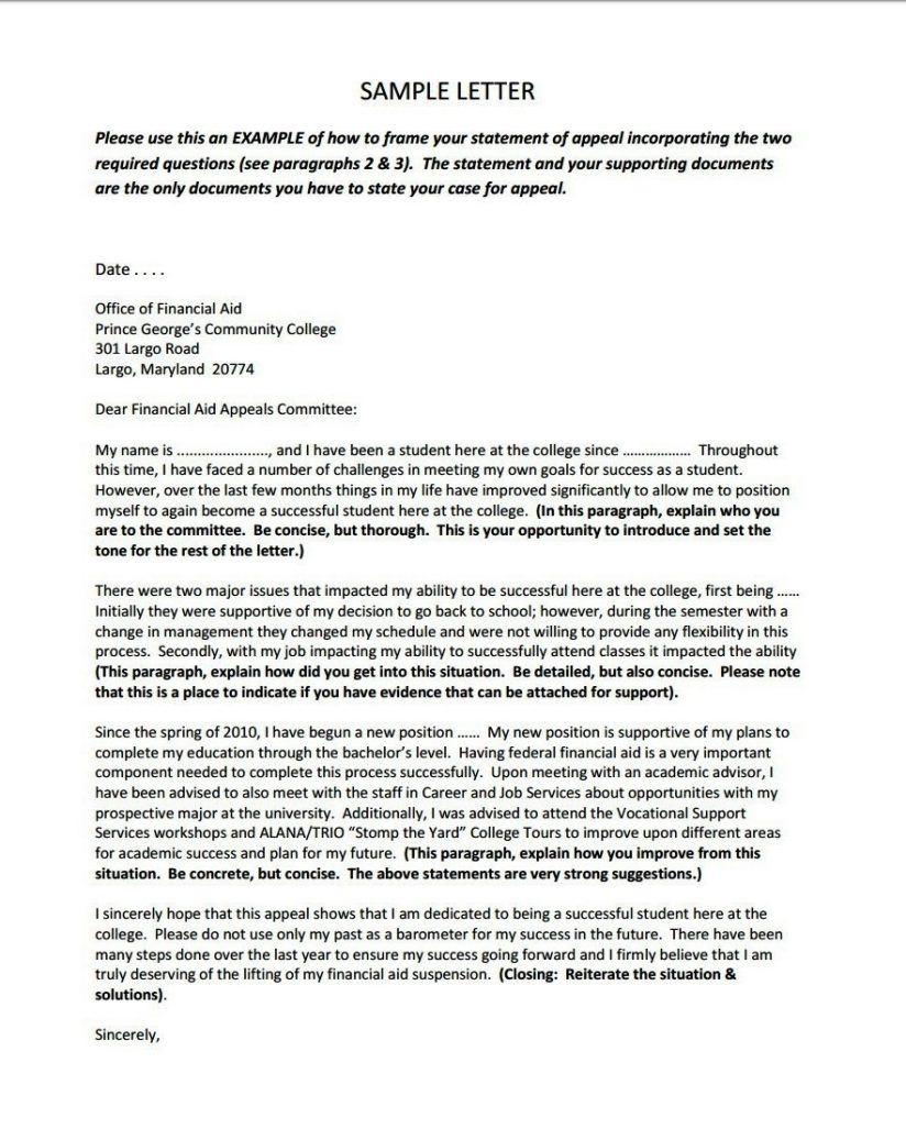 Appeal Letter To Financial Aid 1 – cool green jobs