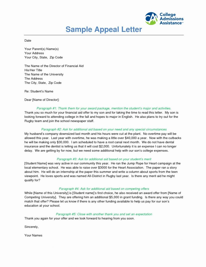 Example Of Appeal Letter For Financial Aid 3 – invest wight