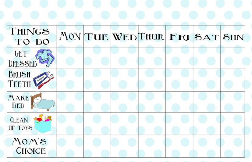 Free Blank Printable Weekly Chore Chart Template for Kids What