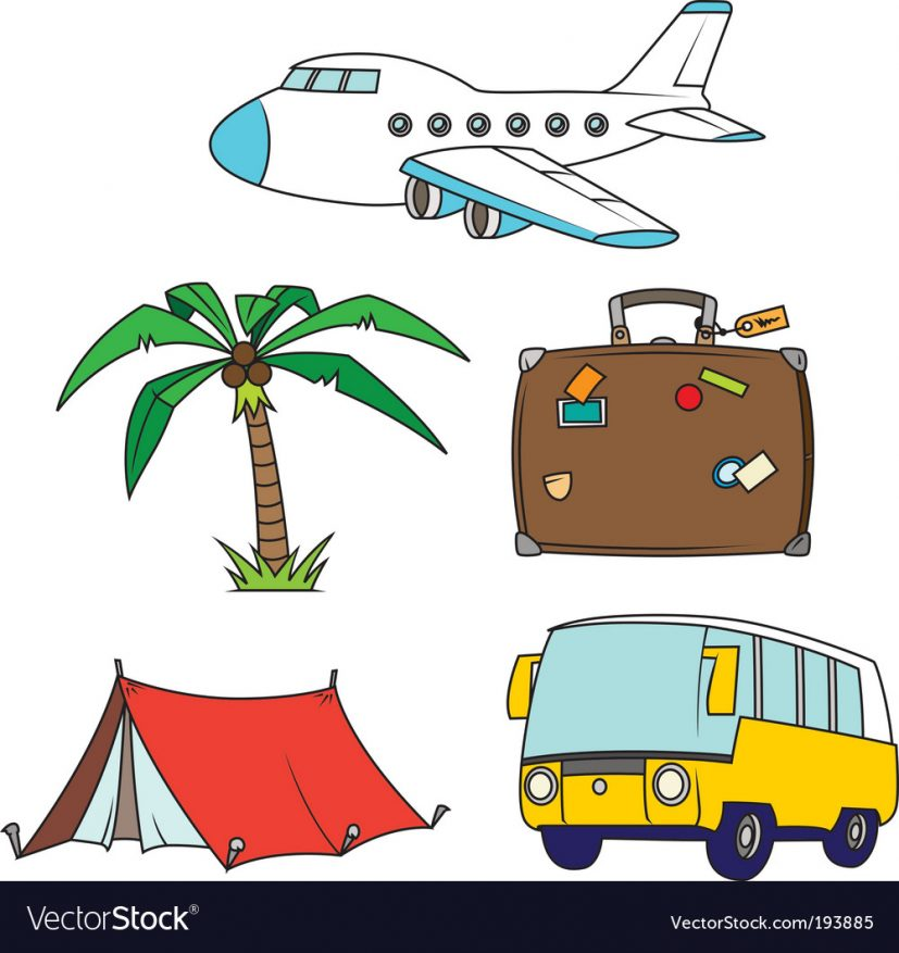 Holidays and travel clipart set Royalty Free Vector Image
