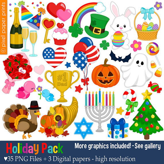 Holiday Pack Clip art set Holiday clipart by Pixel Paper