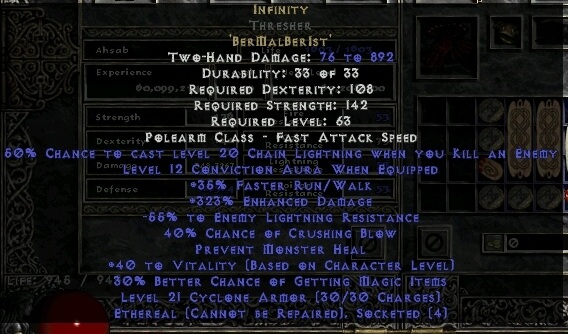 Infinity Cryptic Axe Ethereal 340% ED & 45 54% ELR Infinity