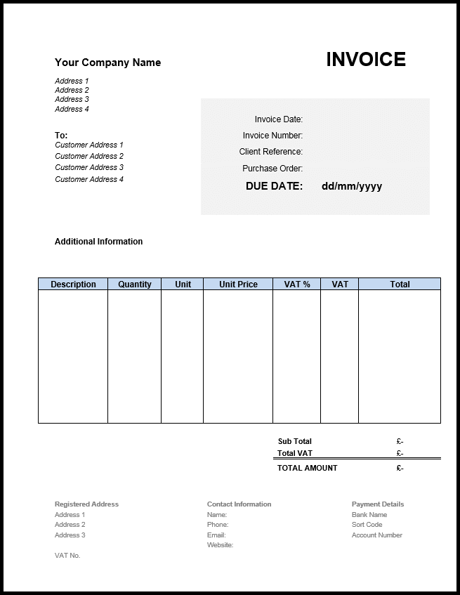 Free Sample Invoice Format UK Billing invoice sample