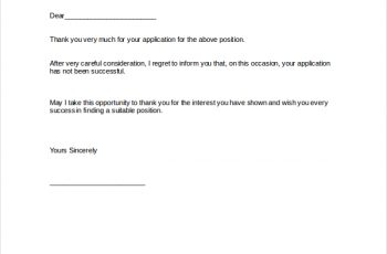 job rejection letter rejection letter following receipt of application