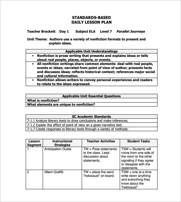 lesson plan examples templates daily lesson plan template daily