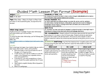 Daily Lesson Planning Template (Horizontal) Example by Tippet's