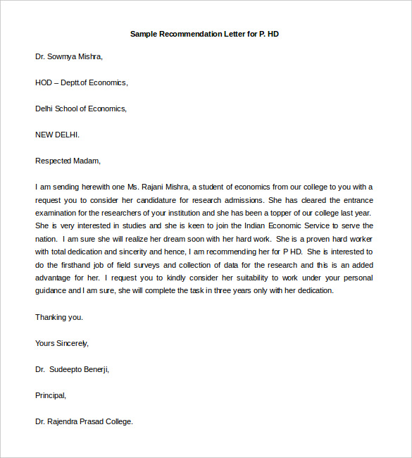 letter of recommendation sample free Kleo.beachfix.co