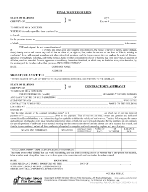 Sample Printable contractor lien waiver Form | Printable Real