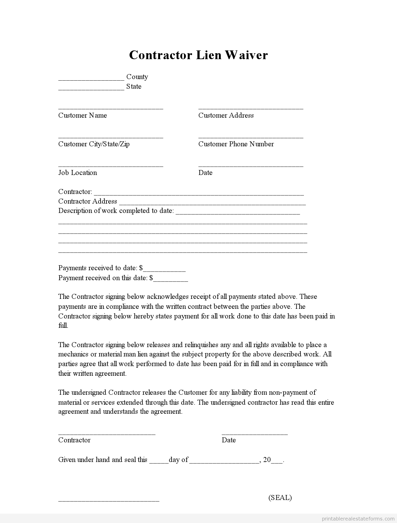 Lien Waiver Fill Online, Printable, Fillable, Blank | PDFfiller