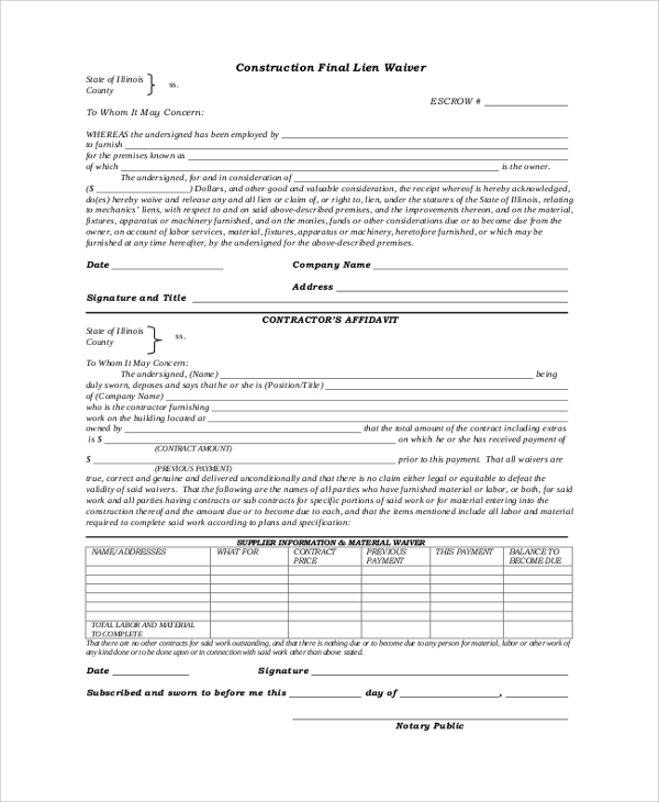 Crazy image within printable lien waiver