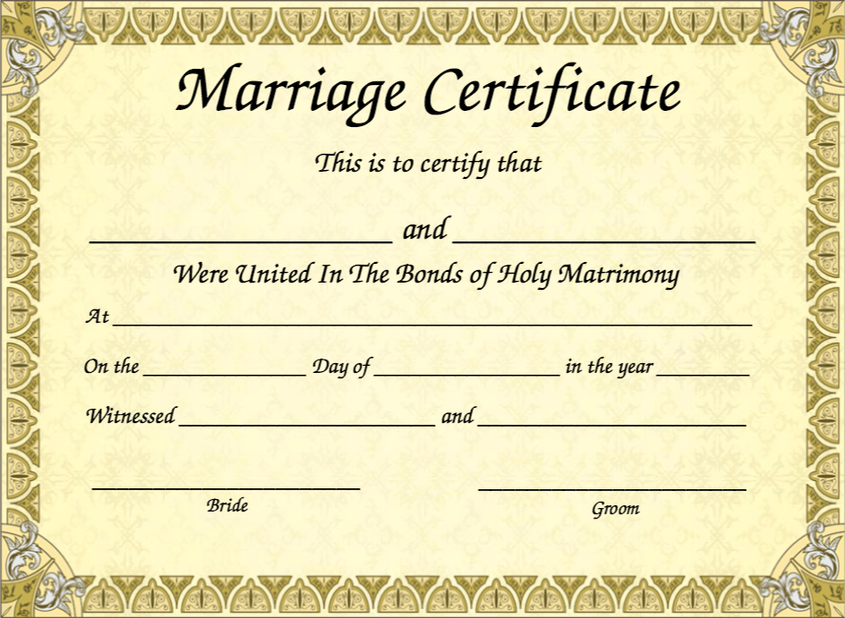 Your Extremely Important Marriage Certificate – My Template Collection