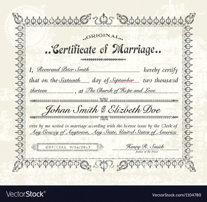 Vintage marriage certificate Royalty Free Vector Image