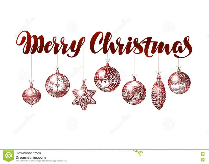 Merry Christmas Banner. Vintage Xmas Decoration Sketch Vector