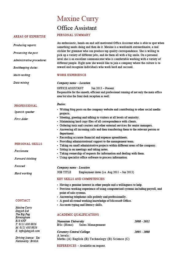 Office Assistant resume, administration, example, sample