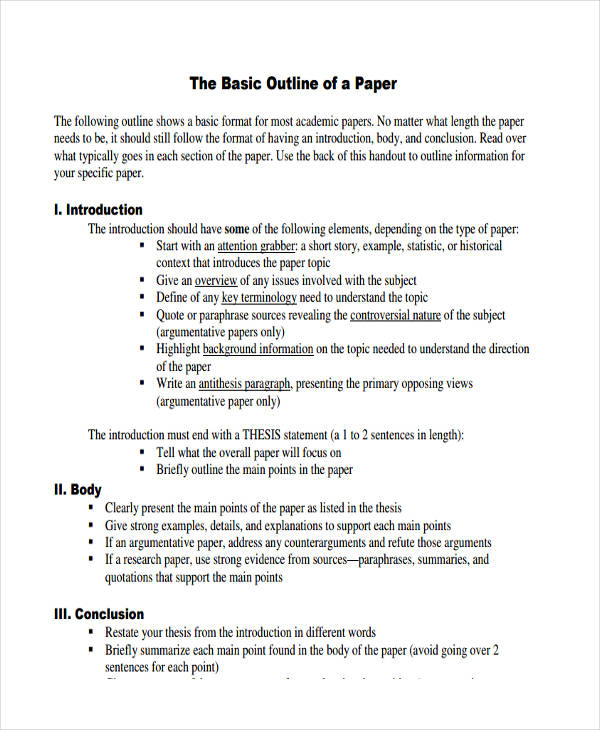 10 Paper Outline Templates Free Sample,Example Format Download