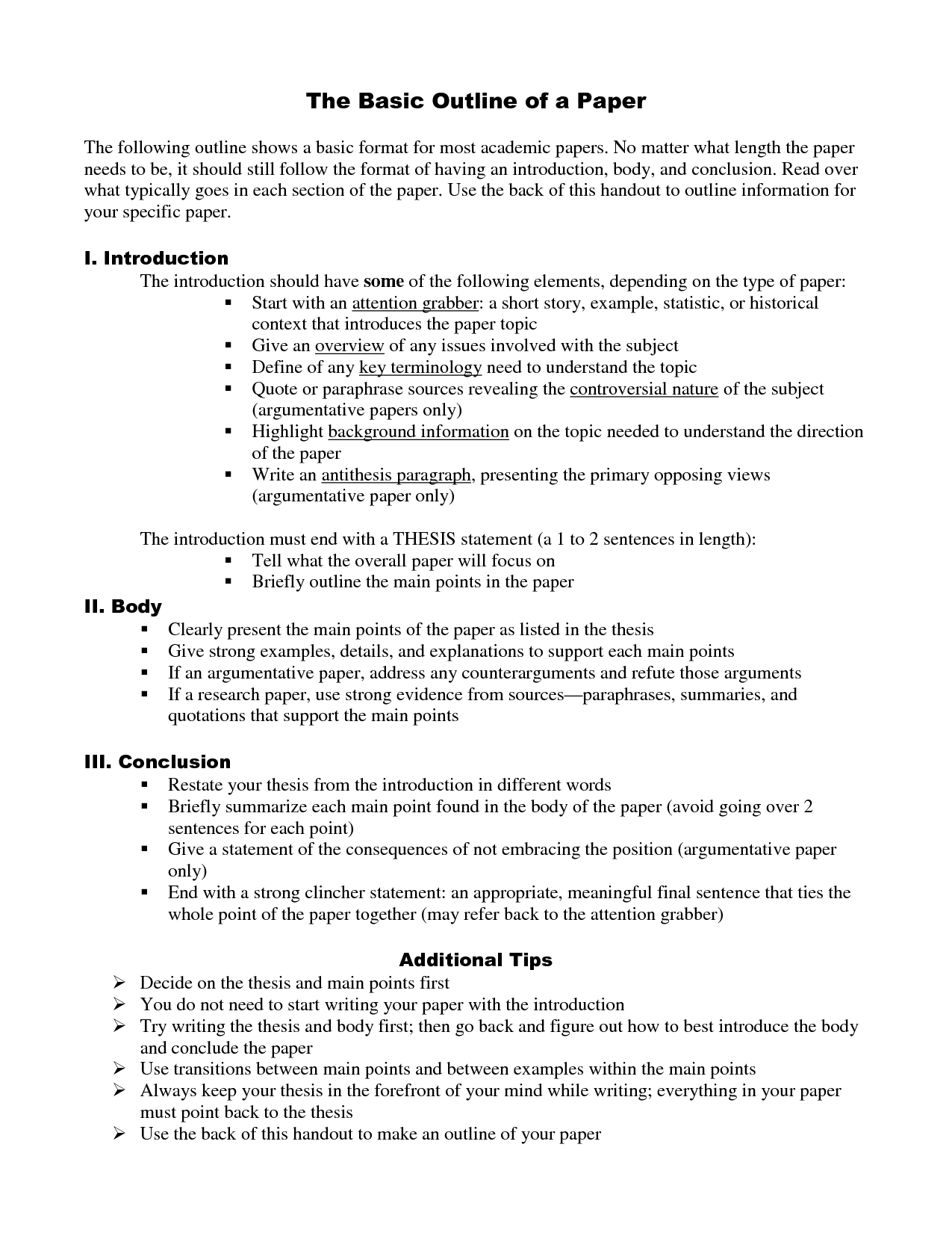 senior paper outline | RESEARCH PAPER STUDENT SAMPLE OUTLINE I II