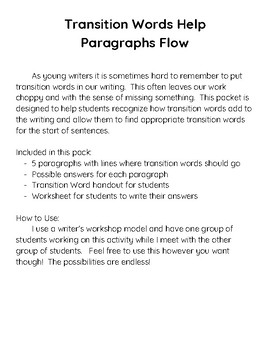 Transition Words Help Paragraphs Flow by Jars of Clay Teacher | TpT