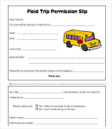 Permission Slip Templates 9+ Free Word, PDF Documents Download