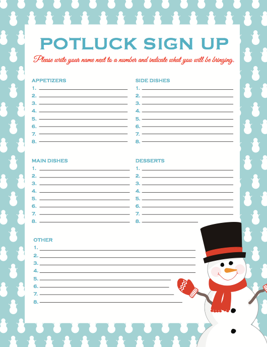Potluck Sign up Template | PosterMyWall