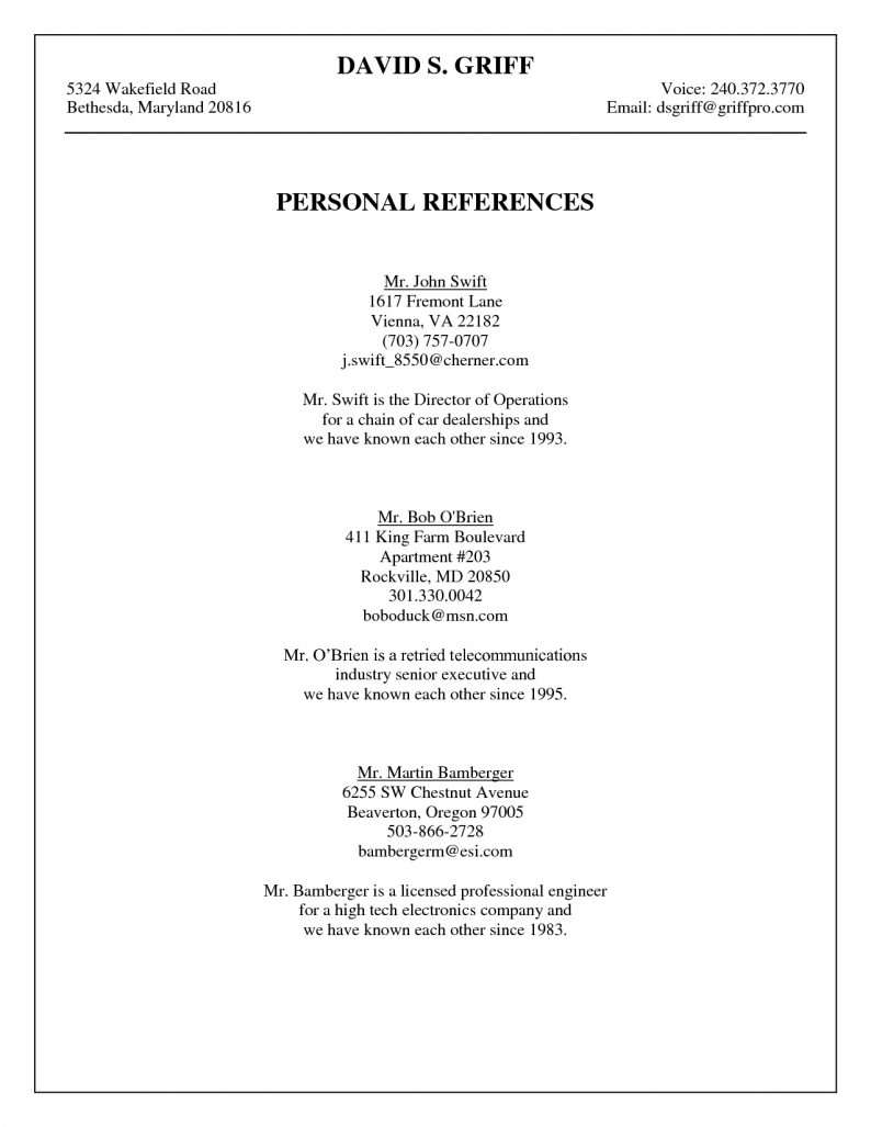 professional references template Gecce.tackletarts.co
