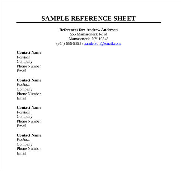 ref sheet template Kleo.beachfix.co