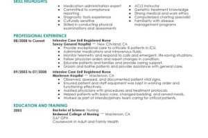registered nurse resume intensive care unit registered nurse healthcare