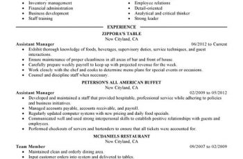 restaurant manager resume assistant manager food and restaurant