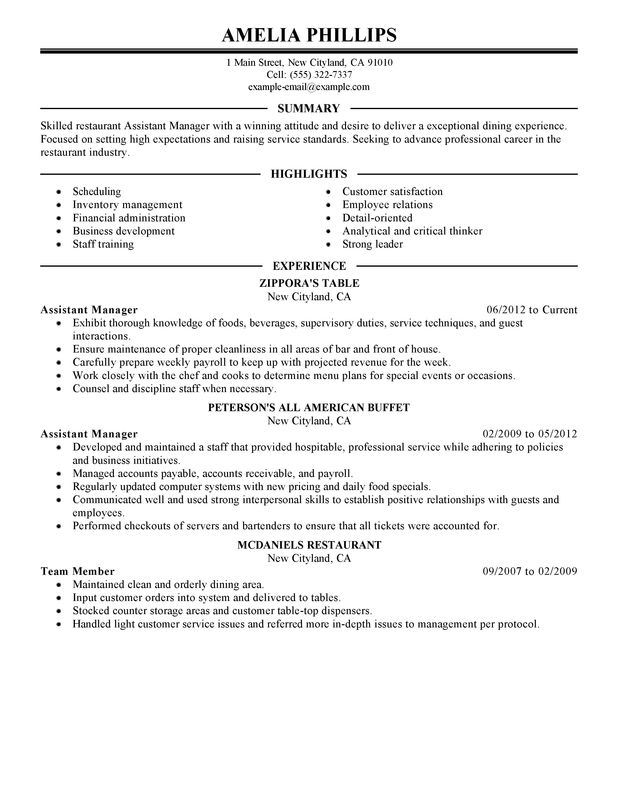 Restaurant Manager Resume Template 6+ Free Word, PDF Document
