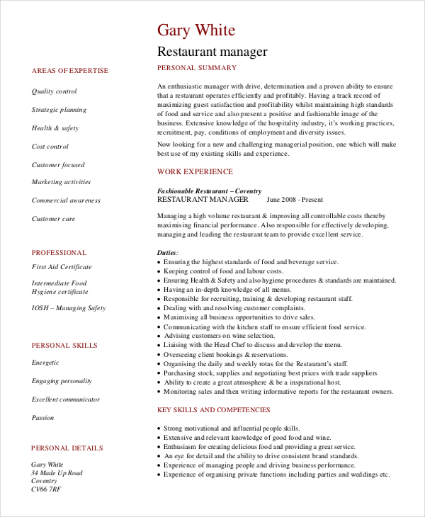 Best Restaurant Manager Resume Example | LiveCareer