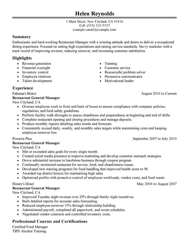 Restaurant Manager Resume Examples Created by Pros | MyPerfectResume