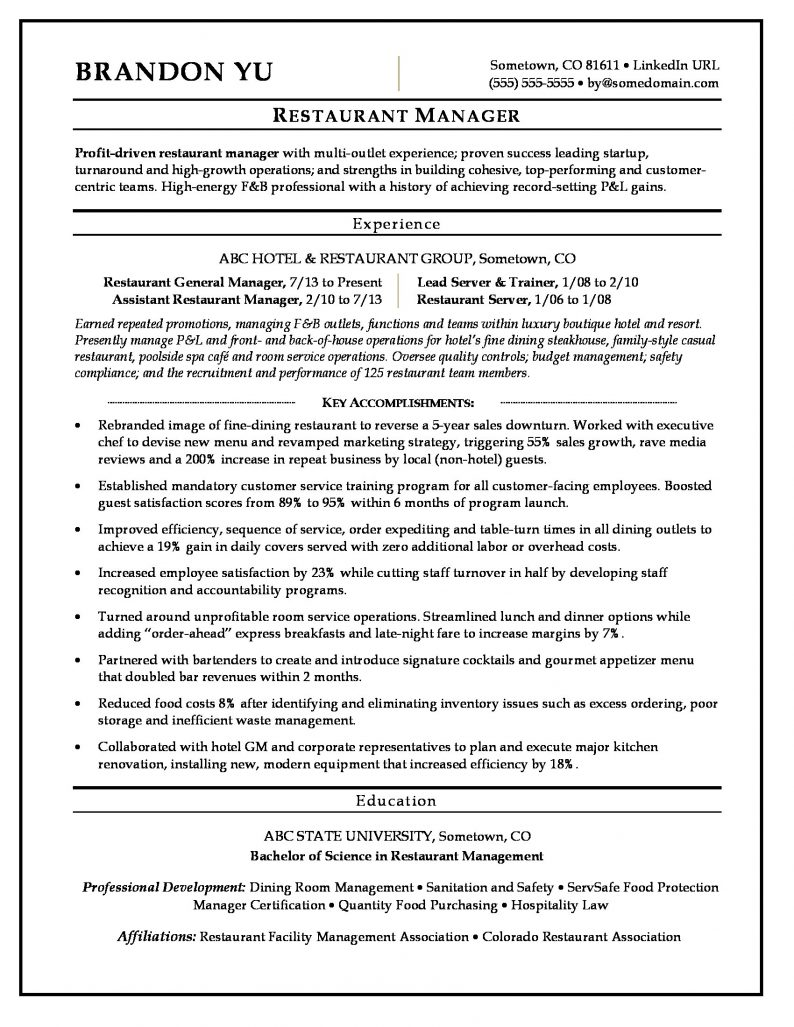 Restaurant Manager Resume Sample | Monster.com