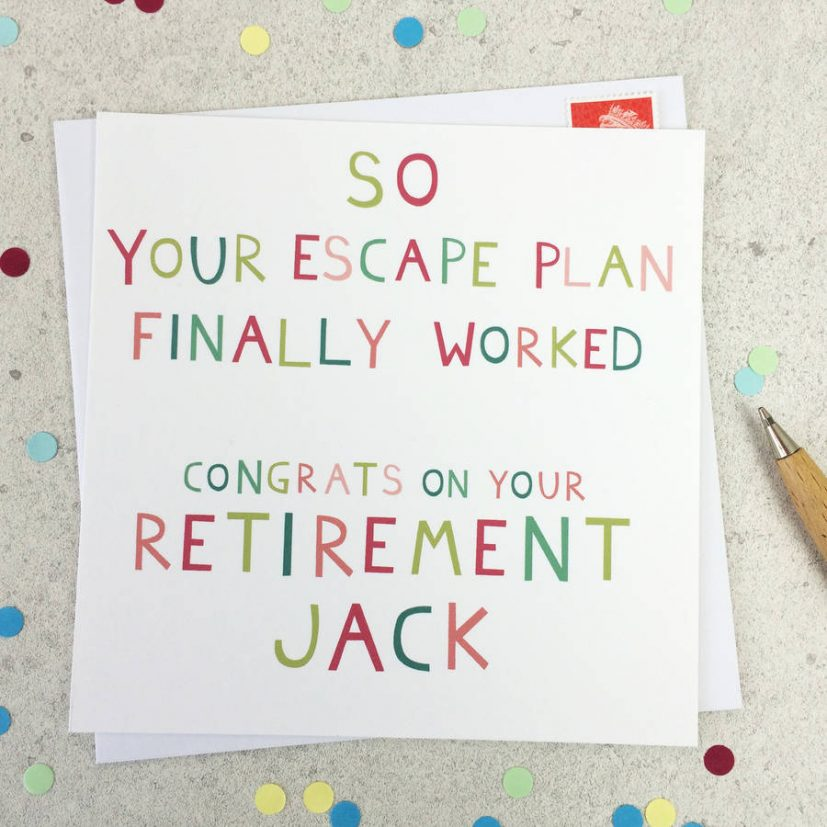 escape plan' funny personalised retirement card by wink design