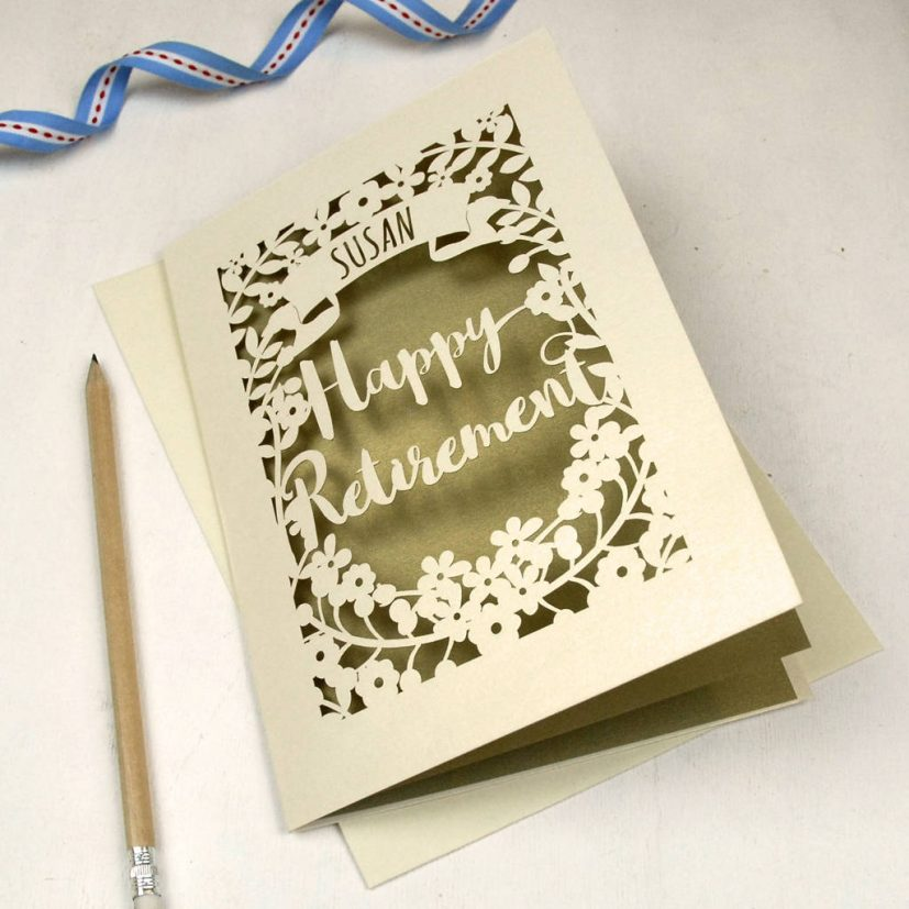 personalised papercut retirement card by pogofandango