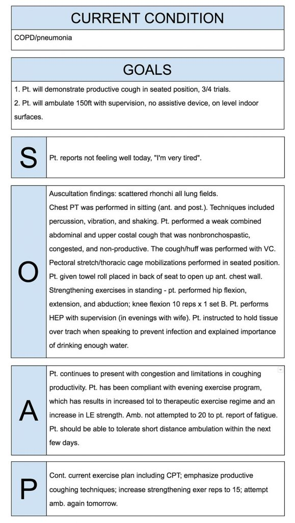 Physical Therapist SOAP Notes Example | Physical therapy