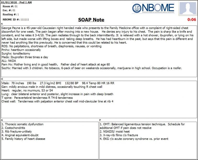 Completed eSOAP Note Sample — NBOME
