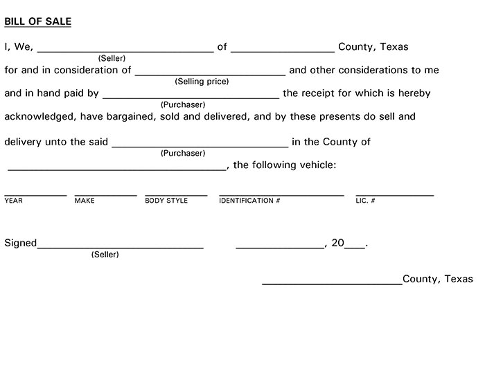 Bill Of Sale Form Texas Fill Online, Printable, Fillable, Blank