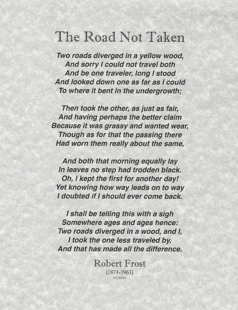 The Road Not Taken Poem by Robert Frost 8.5x11Classic Design on