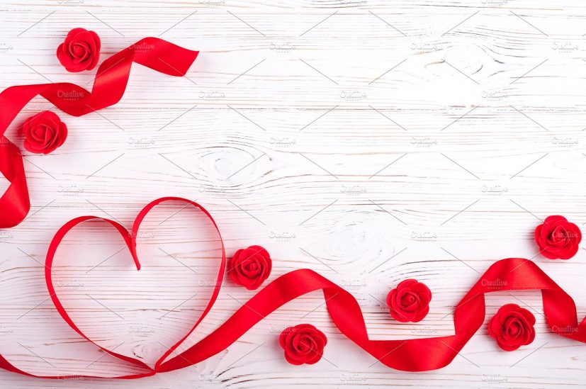 Valentines background with red heart ~ Holiday Photos ~ Creative