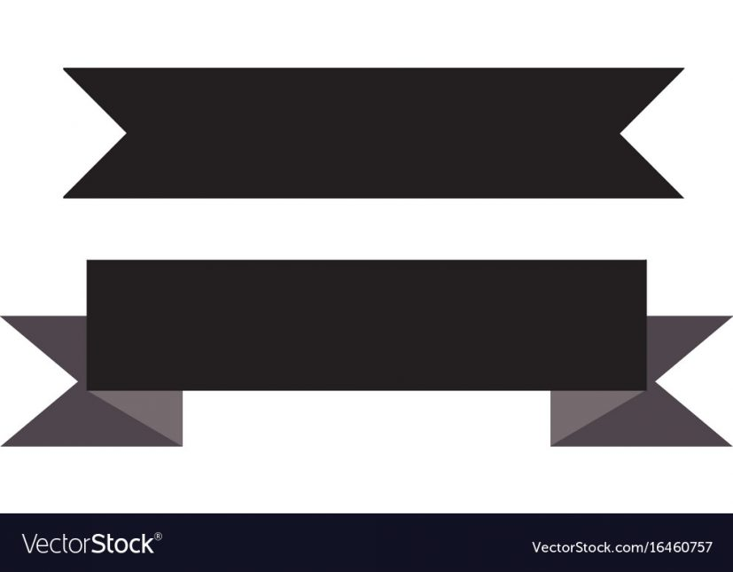 Black ribbon banner on white background black Vector Image
