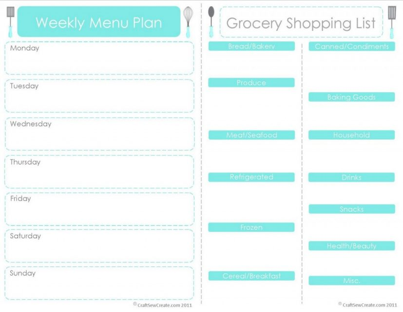 weekly meal plan templates free Gecce.tackletarts.co