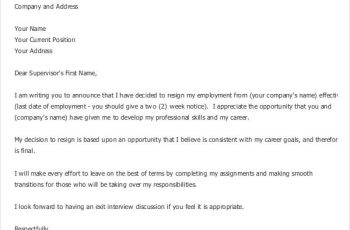 writing a formal letter simple letter of resignation