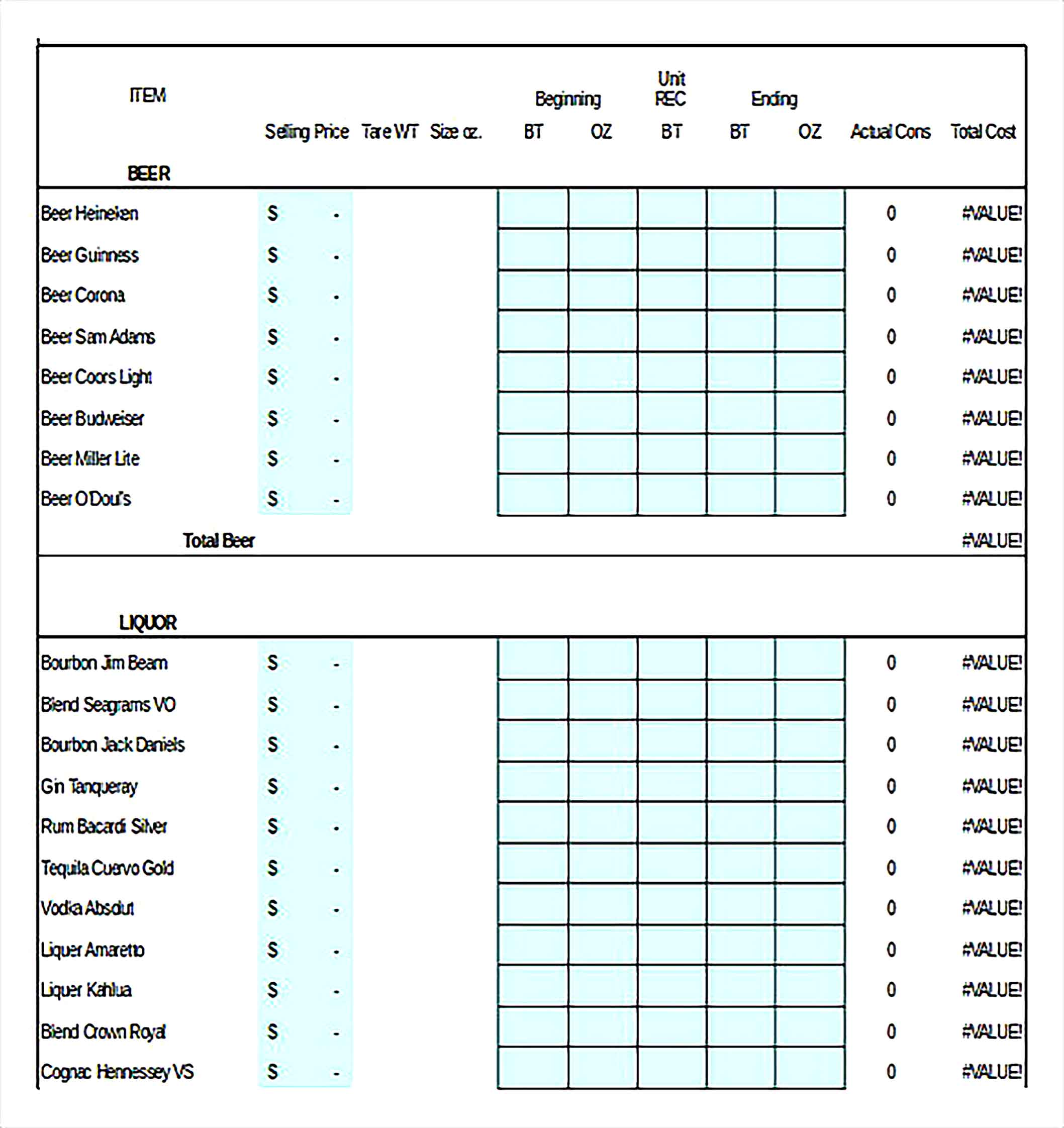 Bar Bevarage Excel Format Inventory Download