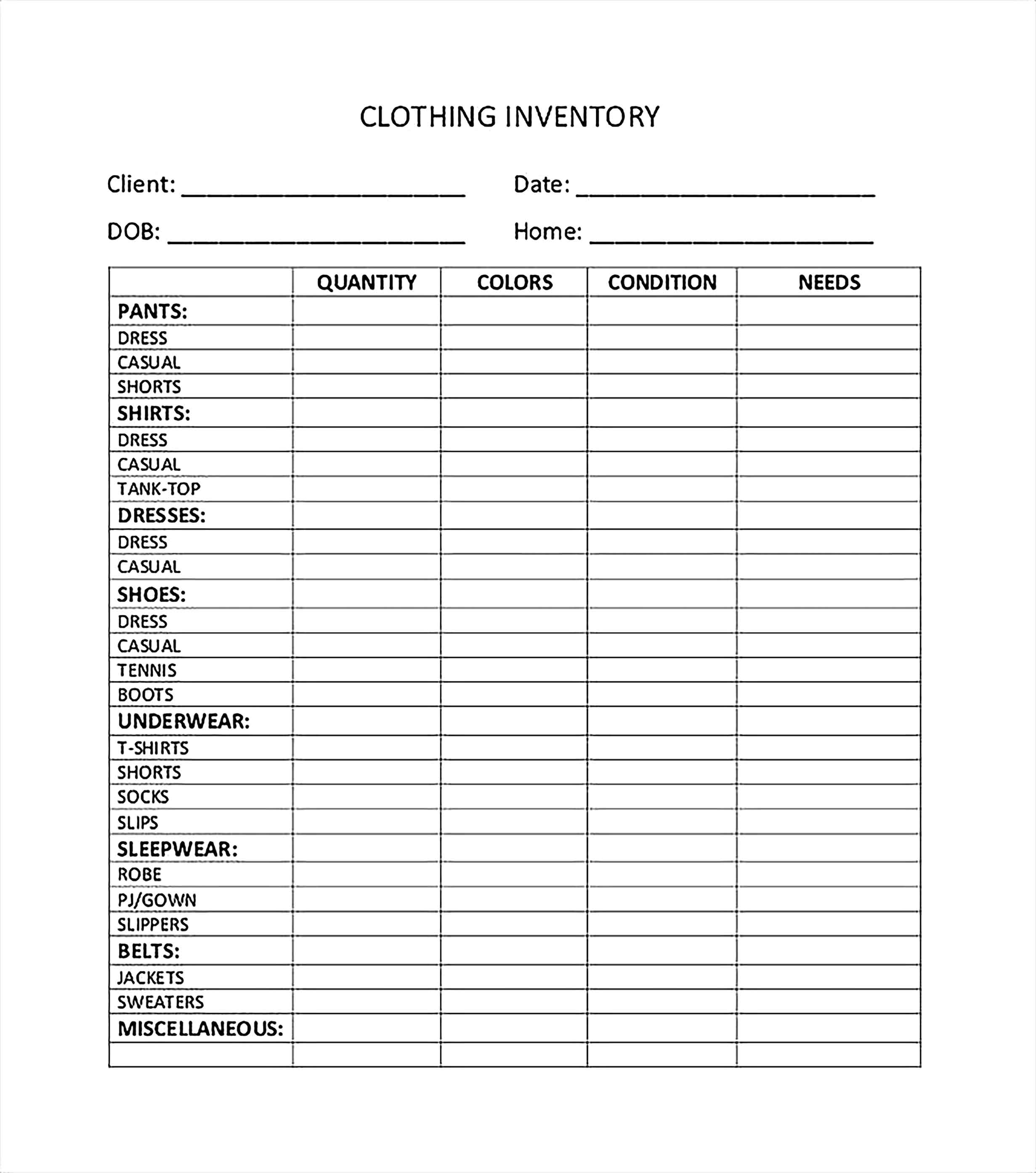 Clothing Inventory Spreadsheet