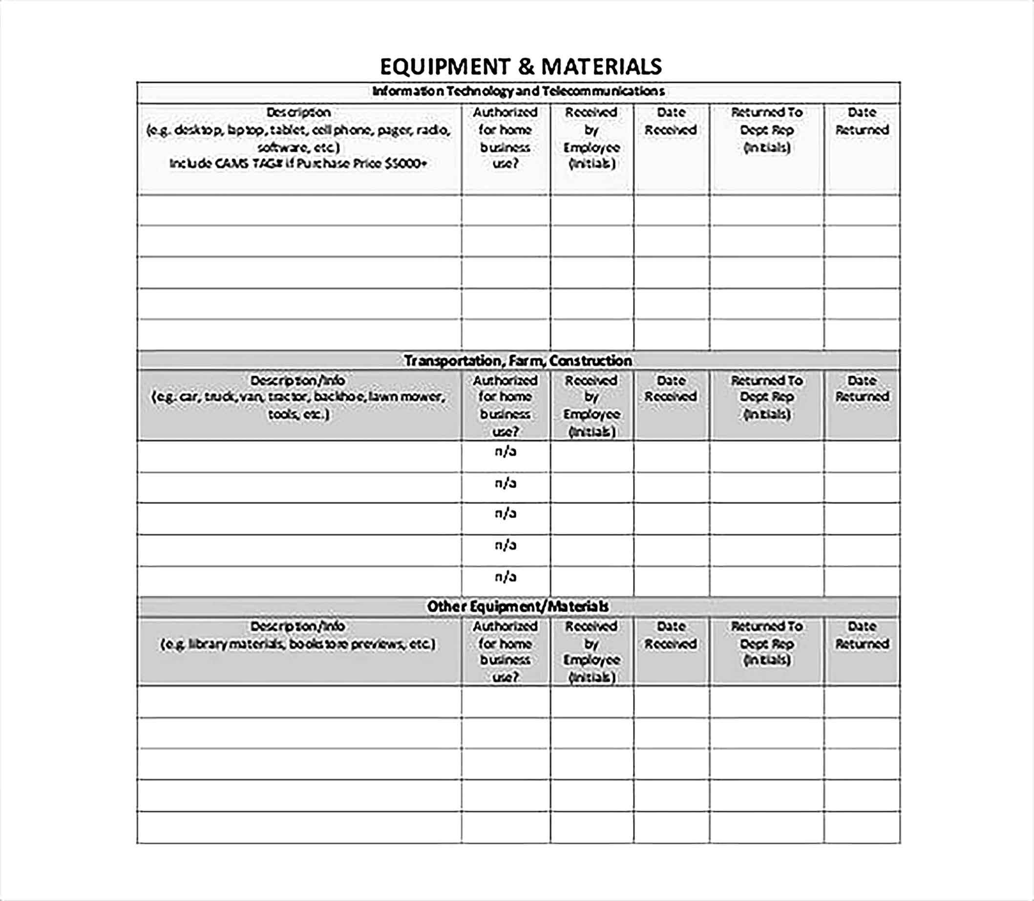 Employee Assigned Asset Tracking Format