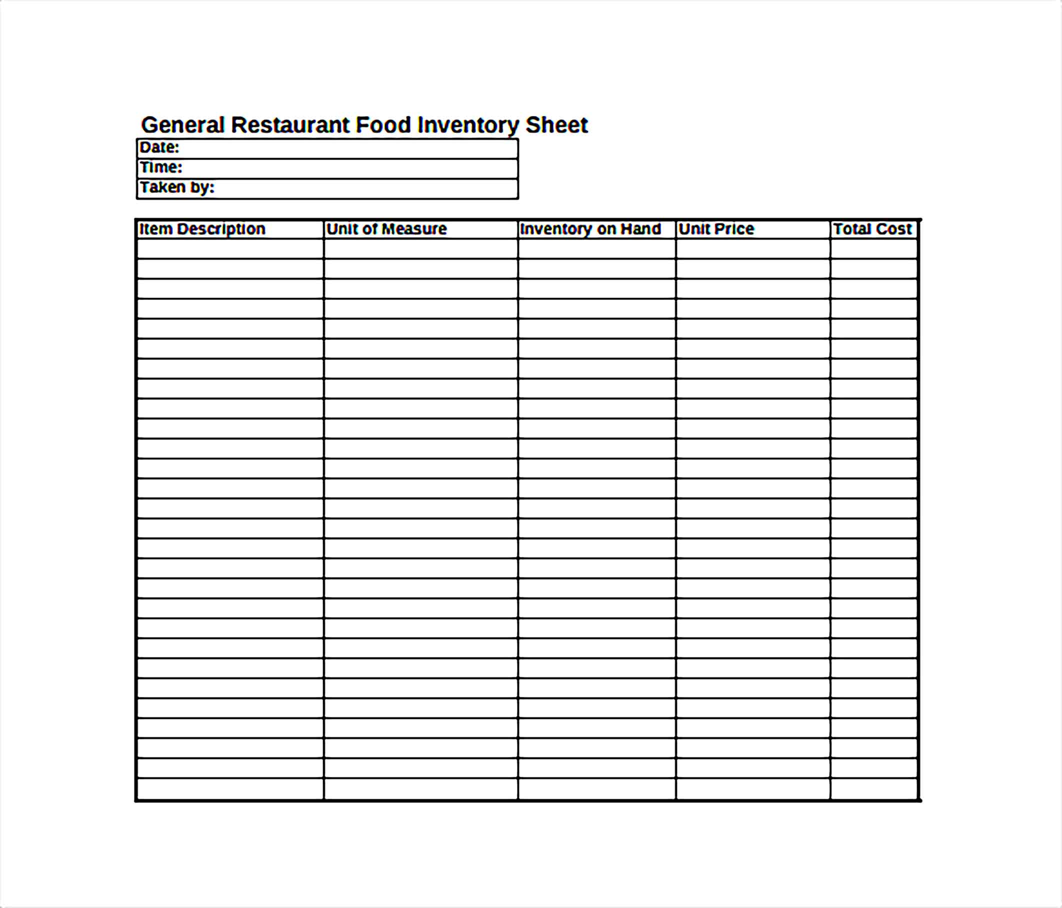 General Restaurant Food Inventory Spreadheet